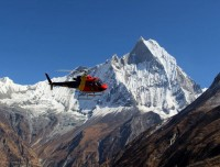 Helicopter flying over Fishtail